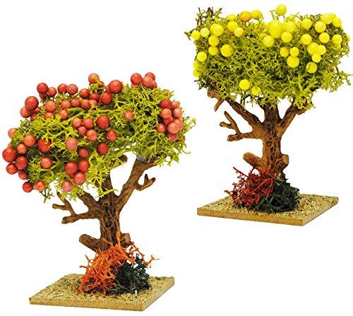 alles-meine.de GmbH 2 Verschiedene Bäume - mit bunten Früchten - Granatapfel / Zitronenbaum - Miniatur - 8,5 cm - Miniatur / Maßstab 1:12 - Baum Apfel - für Puppenstube / Puppenh..
