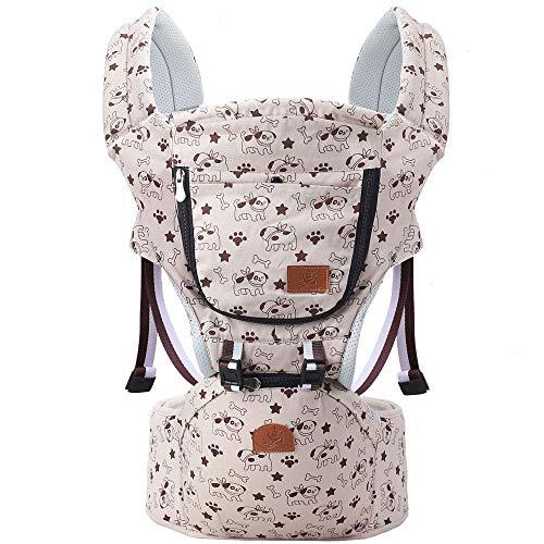 Kleinkind-Babytrage, für alle Jahreszeiten geeignet, 6-in-1-Tragevariante, Hüftsitz vorn und hinten, Rutschfester Silikonsitz,Beige