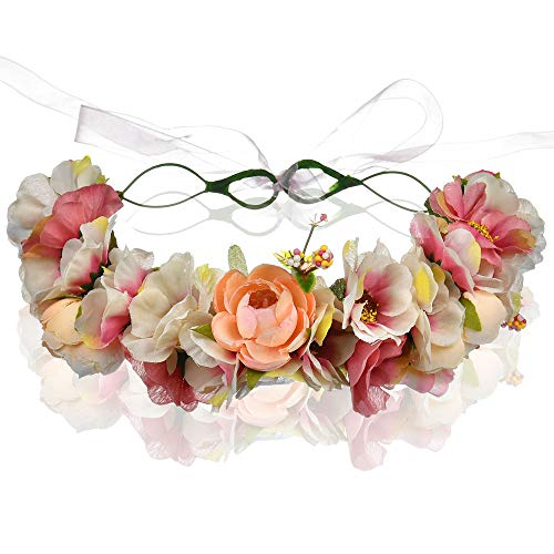 Blumenkranz Haare, Blumen Haarband, Haarkranz Haarschmuck Haarreif Brautschmuck für Boho, Hippie,...