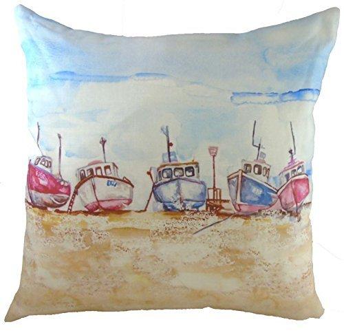 Evans Lichfield Angeln Flotte Boote Ozean Meer Hergestellt in Großbritannien Baumwolle Leinen Blau Gold Kissenbezug Überwurf Kissen Schein 17