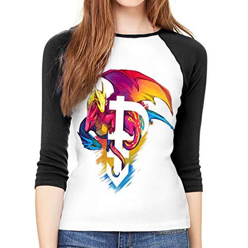MeiShop Dreiviertelärmelige T-Shirts für Frauen Custom Pansexual Pride Dragon Printed1 Raglan T Shirt Front Print Three Quarter Sleeve T-Shirts Tee for Women -