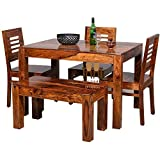 Shree Jeen Mata Enterprises Solid Sheesham Wood 3 Seater Dining Table Set with 3 Chairs and 1 Bench for Living Room | Honey Teak Brown