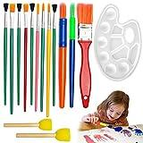 Haichen 15PCS bambini arte pennelli (colore casuale) E spugna set pittura Learner kit con palette disegno utensili