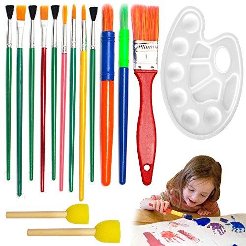 Haichen Kit 15 pièces de peinture pour enfants, avec Pinceaux (couleur aléatoire), éponges de peinture et palette