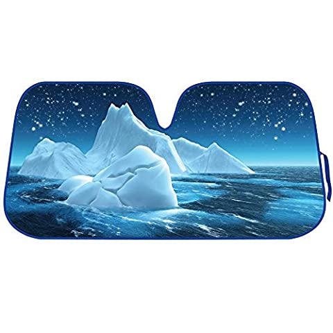 Blue Glacie ICEBERG Reflective Double Bubble Foil Jumbo Folding Accordion SUNSHADE for Car Truck SUV Front Windshield Window Reversible Sun Shade Universal 28x58 inches BDK