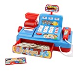 Houkiper Educational toys Role Play Toy Supermarket Cash Register Cashier toys (Blue)