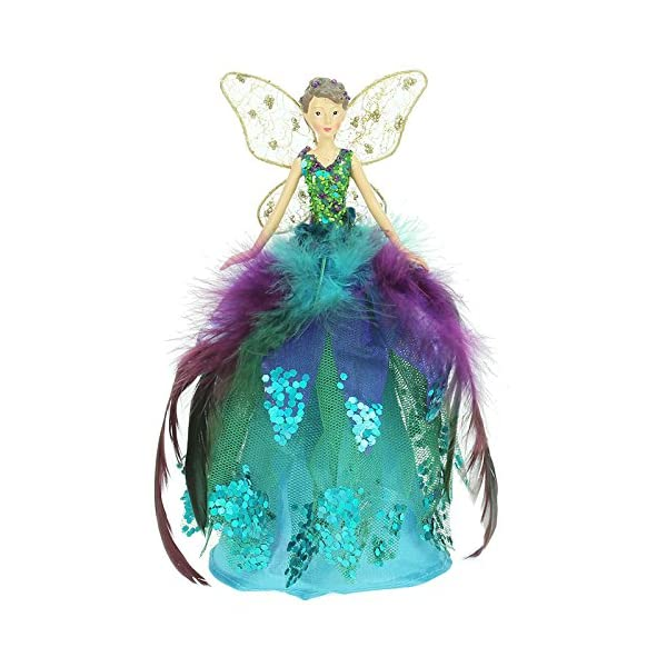Peacock Angel Fairy Christmas Tree Topper Decoration 18 Cms By Gisela Graham