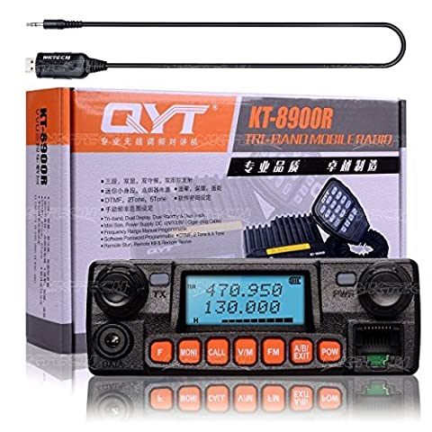 NKTECH USB Programmation Câble + QYT KT-8900R Tri-Band Dual Display/Standby/Track VHF UHF 136-174/240-260/400-480MHz 25W Car Trunk Vehicle Ham Mobile Transceiver et Microphone