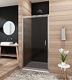 Duschtür nische 90cm Glas Nischentür dusche Pendeltür Duschabtrennung nische Duschwand Höhe 185cm grau