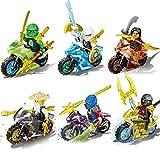 Omiky® 6 X Minifigures Ninjago Toy Ninja Zane KAI Lloyd Motorcycle Blocks Z017 (Multicolour_A)