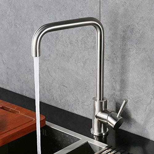 Homelody - 360° drehbare Küchenarmatur, hoher Auslauf, Chrom