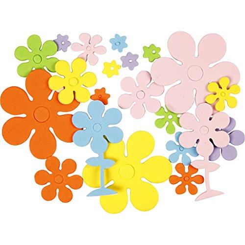 Formas de goma EVA, medidas 10-60 mm, grosor 2 mm, Surtido de colores, Flores, 100surtido