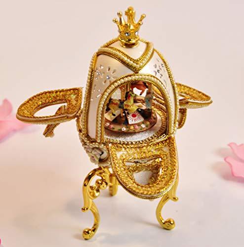 GQQ Eierschnitzen Luxus Karussell Spieluhr,Kleine Krone Uhrwerk Stadt des Himmels Handwerk Geschenk,Gold