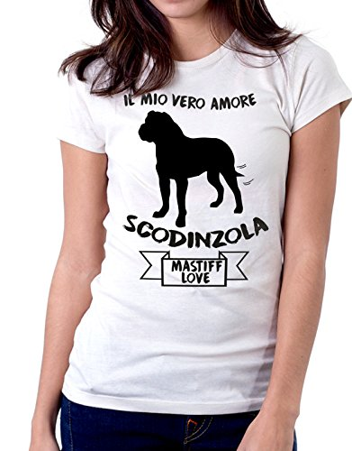 Tshirt Il mio vero amore scodinzola - mastiff love - dog - humor - tshirt simpatiche e divertenti - Tutte le taglie by tshirteria Bianco