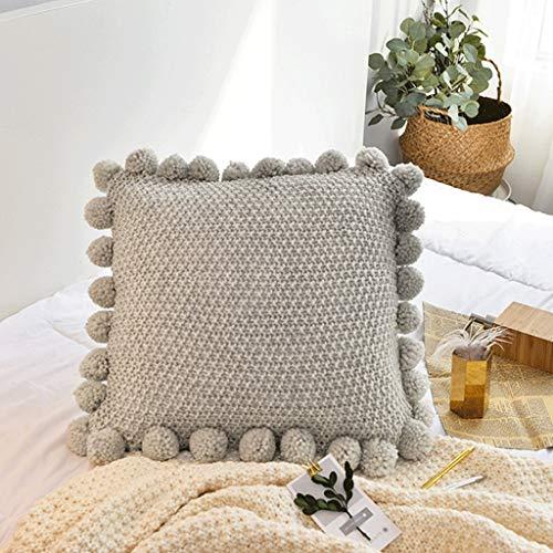 HY Cojín Osmanthus Knitting Ball Ball Almohada Sofá de casa Desmontable y Lavable (Color : Beige)