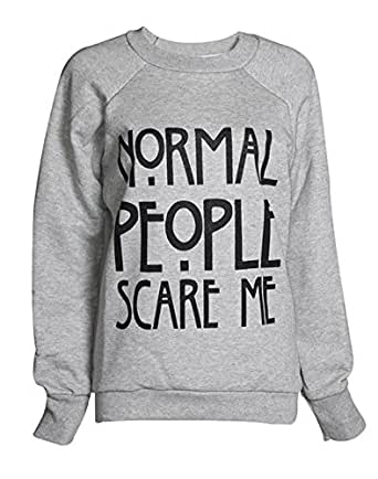 Fashion Mark - Femmes ''Normal People Scare Me'' Imprimer Fleece Sweatshirt Hoodie Top - 7 couleurs - Taille 36-42 (ML (40-42), Gris)