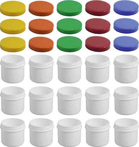 15 Salbendöschen, Creme-döschen, Salbenkruke flach, 25ml Inhalt mit farbigen Deckeln - MADE IN GERMANY