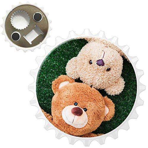 Fancy A Snuggle Teddybär-Freunde Spielen auf dem Gras Kühlschrankmagnet mit Flaschenöffner