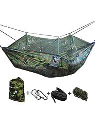 VOBAGA Hamac deux Personnes ,Portable Hamac Ultra-léger de Voyage Camping avec Moustiquaire Charge 200 kg (260 X 140 cm)