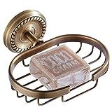 CASEWIND Panier de Douche D'Angle Mural en Laiton de Qualité Fini Antique Porte Savon de Couleur Bronze dans le Style Rétro avec les Motifs Elegants à la Base pour Salle de Bain Toilette Cuisine