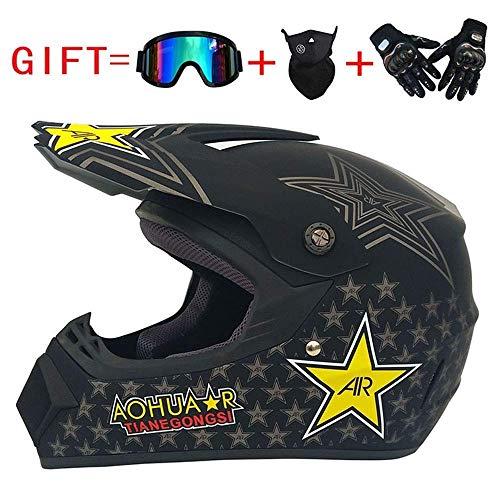 Adult Motocross Helm MX Motorradhelm ATV Scooter ATV Helm Rockstar Multicolor Mit Brillen Handschuhe Maske (S, M, L, XL),L