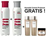 Goldwell Elumen Haarfarbe [Tq@all Türkis] 200ml + 250ml Lock Versiegelung + Kerasilk Control Shampoo 30ml + Conditioner 30ml + Maske 25ml