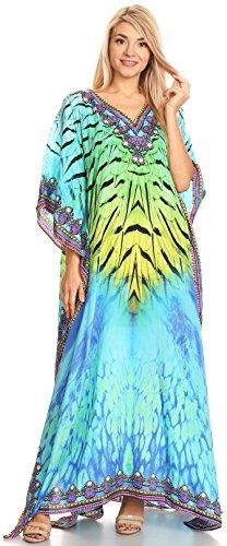 Sakkas Anahi Flowy Design V collo lungo vestito caftan / copertura in su con strass 17165-Verde / Turco