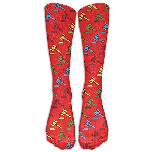Rosa Schädel-knie-socken (HTHYTJC Unisex Lawyer Judge Hammers Mid Calf Crew Socks Tube Stockings Boot Socks One Size)