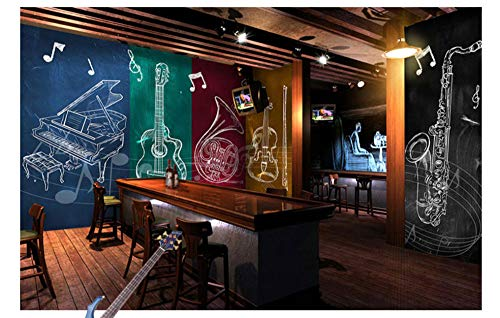 Jazz Rock Musik Gitarre Musikinstrument Seidentuch Tapete,Bar Ktv Western Restaurant Musik Element Wandbild,400X280cm