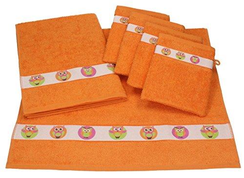 Betz 6 tlg. Baby Handtuch Set 100% Baumwolle 2 St. Kinderhandtücher 4 St. Waschhandschuhe EULEN Farbe orange