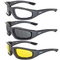 نظارات شمسية Global Vision Kickback مبطنة بالإسفنج بلون رمادي داكن 3 أزواج