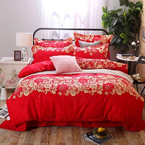 YJJSL Cotton-Bettwäsche-Set, Student Schlafzimmer Nordic einfache Bettbezug-Set, chinesische Art Red Festival Bettbezug Set-abnehmbare 3/4 Pices (Grau Sets Bettwäsche Tröster)