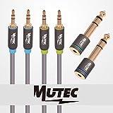 """MutecPower Kit audio stereo di alta qualità con 2 Cavi 3.5mm maschio a maschio da """"3 metri"""" + 2 Adattatori stereo maschio a femmina - Mutec- Power - amazon.it"""