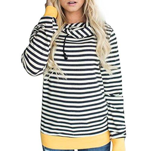 Frauen Langarm Kapuzenjacke, Hmeng Hoodie Sweatshirt Striped Kapuzenpulli Tops Bluse Warm Mantel Kapuzenpullover für den Winter Übergröße (L, Schwarz) (Kleinkinder Rugby-shirts)
