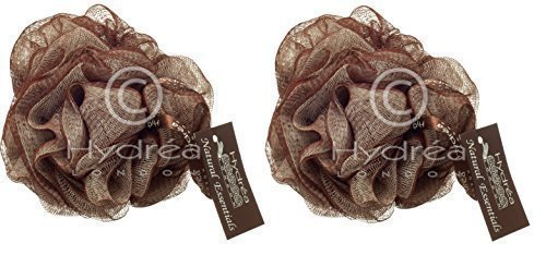 Hydrea Grande Exfoliante Cuerpo Puff / Scrunchie /Lima - Baño Y Ducha Pack Doble (Chocolate & Crema)