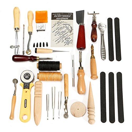 Leder-Handgeräte Set 30pcs lederne Fertigkeit Stitching Schnitzen Groover Stanzwerkzeuge DIY Leder Handwerk Stanzwerkzeuge Kit Stitching Schnitzen Heftsattel Groover Leder Craft Handwerkzeuge Kit handgemachte Werkzeuge