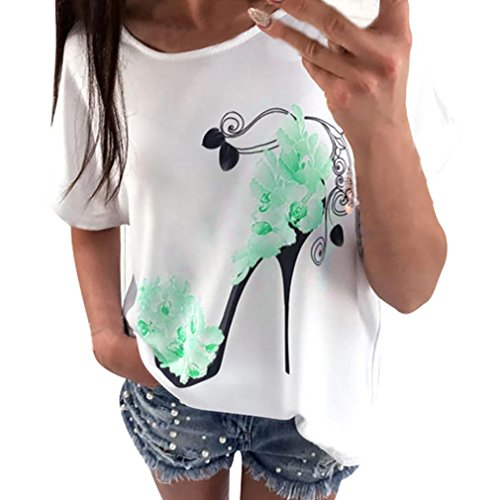 Elecenty Damen Shirt Hemden Strandbluse Tops Bluse Reizvolle Oberteile Kurzarm T-Stücke High Heels Druck Sommerhemd Lose Hemd Blusen Haushemd Damenmode Frauen Blusenshirt Sommerbluse (2XL, Grün) (Karierten Mädchen Grün Röcke)