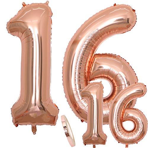 Globos Número 16 Cumpleaños XXL de oro rosa - Globo de lámina gigante en 2 tamaños, 40 'y 16' | Set 100cm + Mini 40cm version Decoraciones de cumpleaños| Ideal para el XVI como decoración.