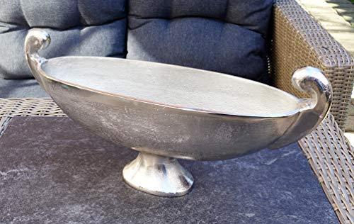 MichaelNoll Schale Dekoteller Aluminium Silber XL 51 cm