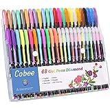 Cobee Stylo Gel Crayon Pailleté 48pcs de Différent Couleurs Cadeau d'Art Crayons Multicouleurs Pailleté Néon Métallique Pastel pour Dessin Coloriage