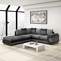 Beshomethings Jumbo Cord Fabric & Faux Leather 3 Seater and 2 Seater Set Corner Sofa Large Footstool Group Settee Couch (Black and Grey)