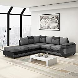 Wellgarden Fabric 4 Seater Sofa L Shaped Corner Sofa Fabric and Leather Upholstered Sofa Settee Left or Right Chaise Couch with Footstool (Grey and black)
