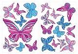 dekodino Wandtattoo Kinderzimmer Wandsticker Set A Schmetterlinge in Blau und Violett St