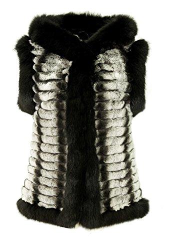 DX Damen Pelzweste echt Kaninchen Fellweste Chinchilalook mit Fuchs Pelz, Leder Weste , Fell (32) (Echte Fuchs-kaninchen)