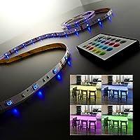 B.K. Licht ruban LED 5m, guirlande lumineuse, ruban adhésif lumière décorative blanche & multicolore, éclairage intérieur, IP20, 24W, longueur 5m