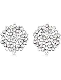 NEVI Flower Czech Crystals Rhodium Plated Stud Earrings Jewellery for Women And Girls