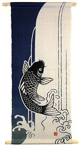Japonmania-Stickerei Hängekorb-Koi No takinobori-30x 71 (Noren Koi)