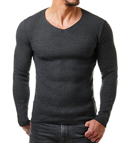 EightyFive Herren Strick-Pullover Feinstrick Schwarz Weiß Anthrazit Grau EF1402, Größe:XL, Farbe:Anthrazit