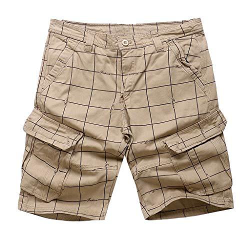 GreatestPAK Herren Multi-Pocket Lose Fit Baumwolle Cargo Shorts Casual Plus Size Kurze Hosen Männer Sommer Slim Plaid Tooling,Khaki,EU:M(Tag:34) (Bike Gebrauchte Pocket)