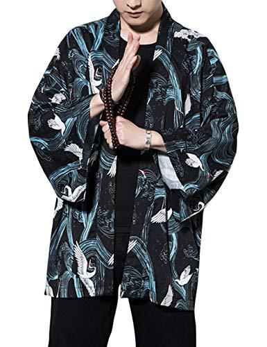 besbomig Sommerjacke Mantel Mode Japanische Haori Herren Oberbekleidung Strickjacke Kimono Jacket Lässige Hippie Kleidung, 3/4 Ärmel Mode Kimono